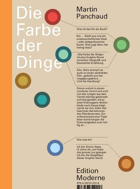 <span style='color: #3c3c3c;'>Martin Panchaud</span> <br><span style='font-style: italic; font-weight: bold;'>Die Farbe der Dinge</span>